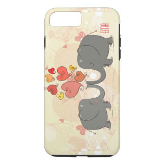 Elephants In Love With Red Valentines Hearts iPhone 8 Plus/7 Plus Case