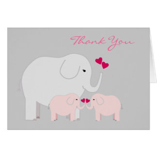 Elephants in Pink Twins Thank You Card