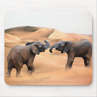 Elephants in the desert mouse pad
