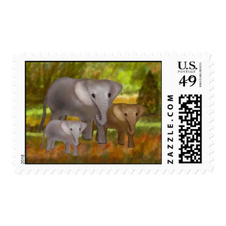 Elephants in the Rainforest Postage