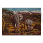 Elephants & Kilimanjaro Greeting Card