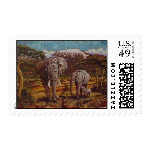 Elephants & Kilimanjaro Postage Stamp