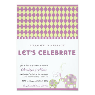 Elephants Lavender and Lime Baby Shower Invitation
