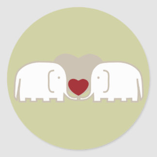 elephants love classic round sticker