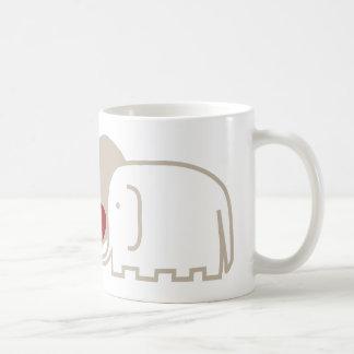 elephants love classic white coffee mug