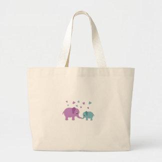 Elephants love large tote bag