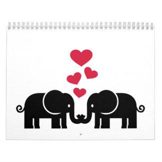 Elephants love red hearts calendars