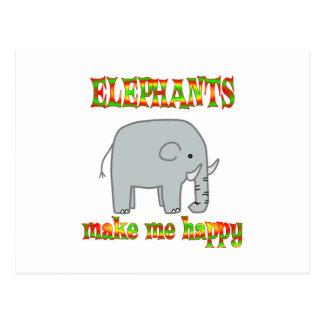 Elephants Make Me Happy Postcard
