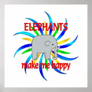 Elephants Make Me Happy Poster