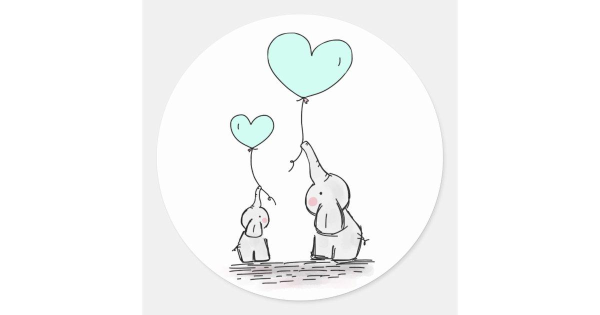 Elephants | Mint Green Heart Balloons Baby Shower Classic ...