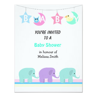 Elephants Moon and Stars Baby Shower Invitation