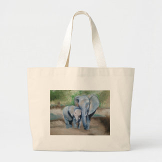 Elephants- Mother and Baby Large Tote Bag