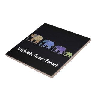Elephants Never Forget Ceramic Tile