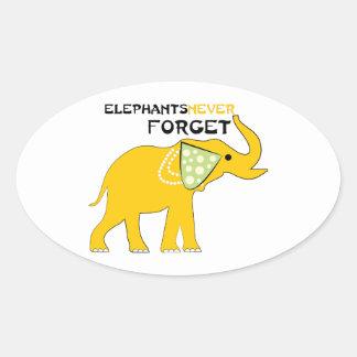 Elephants Never Forget Oval Sticker