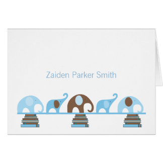 Elephants on Books Baby Thank You Note with photo Stationery Note Card