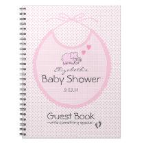 Elephants On Pink Bib-Baby Shower Guest Book- Notebook