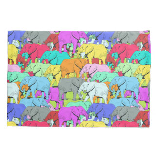 Elephants Parade Pair of Standard Size Pillowcases