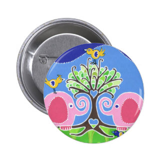 Elephants Parading in the Forest 2 Inch Round Button