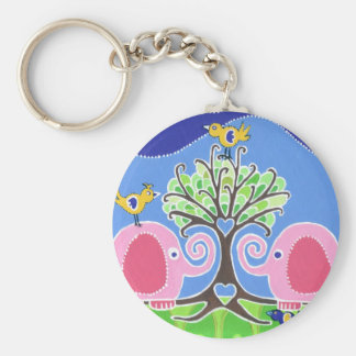 Elephants Parading in the Forest Keychain