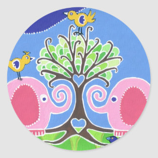 Elephants Parading in the Forest Round Sticker