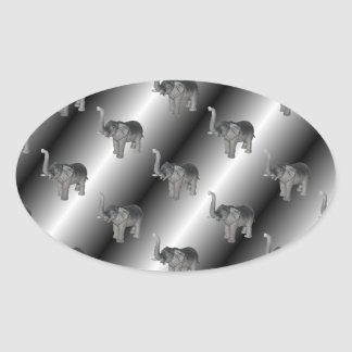 Elephants Pattern Oval Sticker