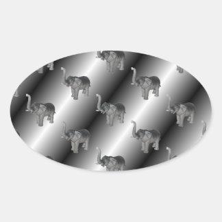 Elephants Pattern Oval Sticker