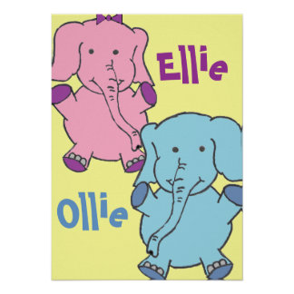 Elephants Pink And Blue Posters