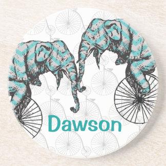Elephants Plus Bikes Equal YIKES! Beverage Coaster