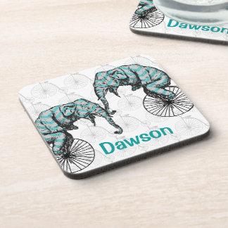 Elephants Plus Bikes Equal YIKES! Drink Coaster