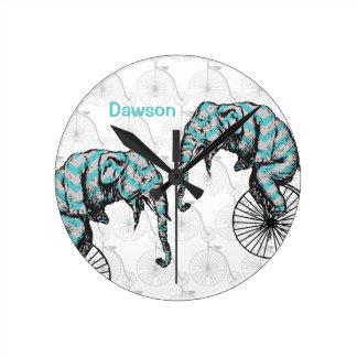 Elephants Plus Bikes Equal YIKES! Round Clock