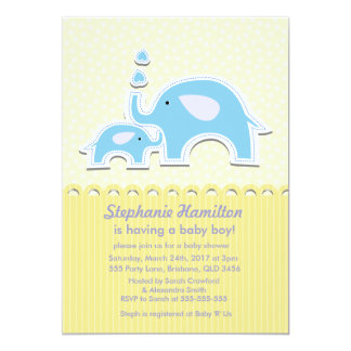 Elephants polka dots stripes baby boy shower card