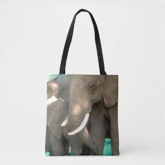 Elephants Protecting Young Tote Bag
