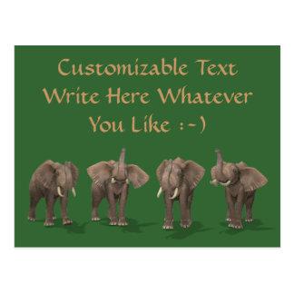 Elephants Quartet Postcards