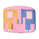 Elephants Round Pouf