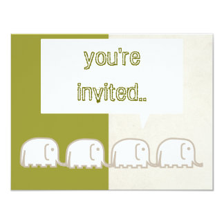 "elephants row 4.25"" x 5.5"" invitation card"