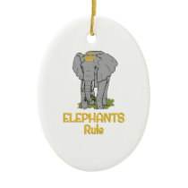 Elephants Rule Golden Crown Ceramic Ornament