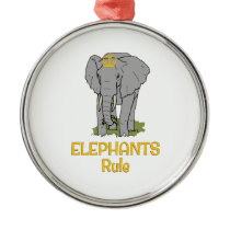 Elephants Rule Golden Crown Metal Ornament