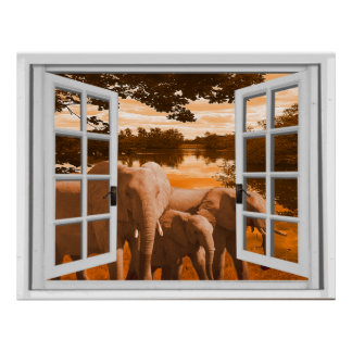 Elephants Sunset View Trompe l'oeil Fake Window Poster