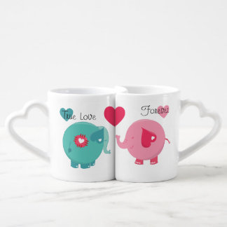 Elephants True Love Forever Lovers Mugs Couples' Coffee Mug Set