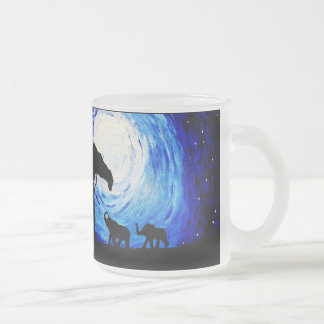 Elephants Under Moonlight (K.Turnbull Art) Frosted Glass Coffee Mug
