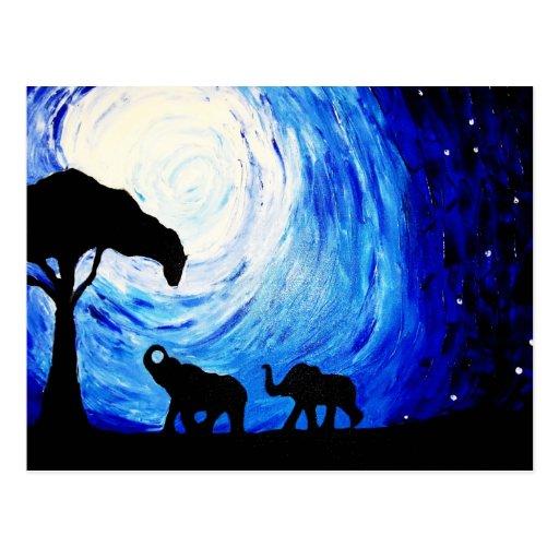 Elephants Under Moonlight (K.Turnbull Art) Post Card