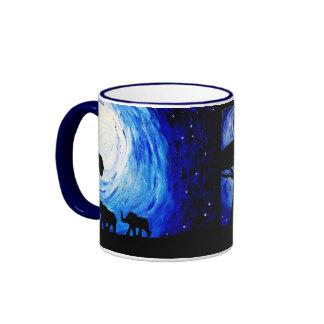 Elephants Under Moonlight (K.Turnbull Art) Ringer Coffee Mug