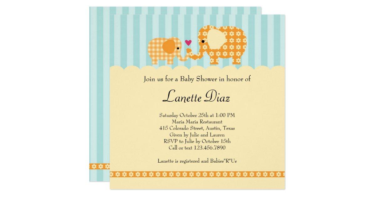 elephants unisex baby shower invitation zazzle for unisex wedding shower games