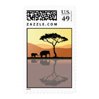 Elephants Walk at Sunset Postage Stamps