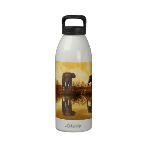 Elephants Drinking Bottles