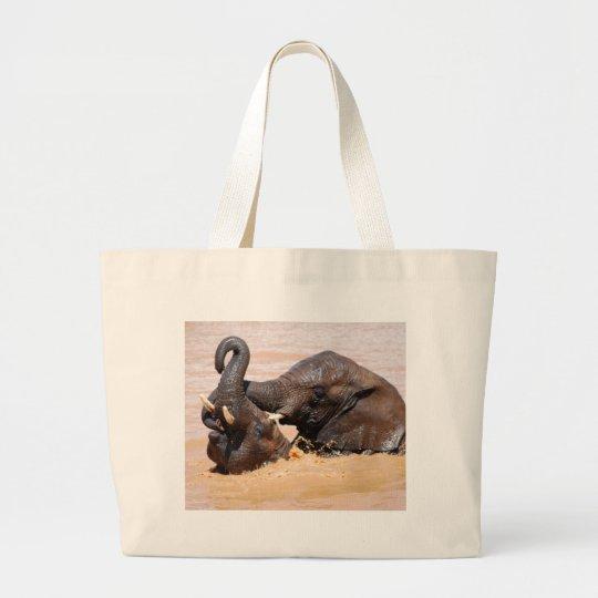Elephants water world large tote bag