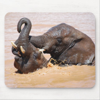 Elephants water world mouse pad