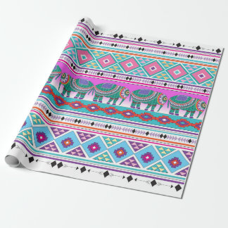 Elephants with Aztec Pattern Wrapping Paper