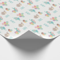 Elephants with Balloons Baby Wrapping Paper