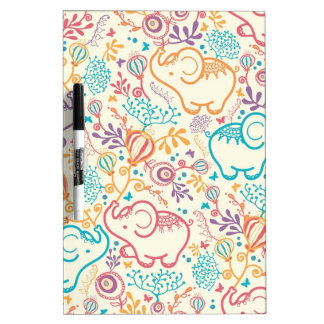 Elephants with bouquets pattern Dry-Erase board